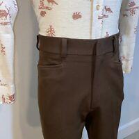 Vtg 60s 70s BARDON Pants Brown Double Knit Polyester Leisure Disco MENS 34 25
