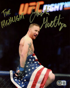 JUSTIN GAETHJE SIGNED AUTOGRAPHED 8x10 PHOTO + THE HIGHLIGHT MMA UFC BECKETT BAS