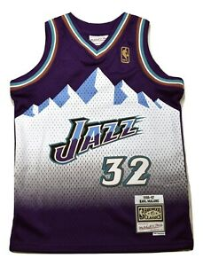 Mitchell & Ness Youth Boys NBA Utah Jazz Karl Malone Basketball Jersey NWT S-XL