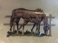 Spinnerin Needlepoint GREEN PASTURES Kit #210 Vtg HORSE 14x18 Crewel Wool Brown