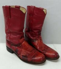 Women's Justin Western Cowboy Boots Red Leather Size 6.5 A Made In The USA
