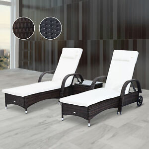 3pc Rattan Sun Lounger Wicker Day Bed Table Reclining Garden Patio Furniture