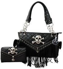 Sugar Skull Crossbones Purse Fringe Quilted Zipper Conceal Carry Handbag Wallet
