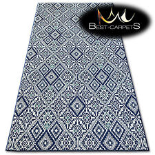 EASY TO CLEAN SISAL RUG blue squares 'COLOR' PRACTICAL hard-wearing and durable