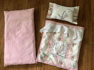 Vintage Pink Cottage Baby Doll Cradle Bedding Set Blanket Pillow Cottagecore