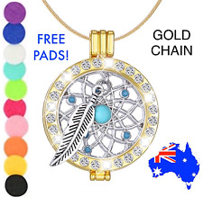 Gold Crystal Dreamcatcher Aromatherapy Essential Oil Diffuser Pendant Necklace