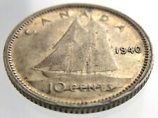 1940 Canada 10 Cents Die Crack Dime Circulated George VI Ten Cent Coin R532