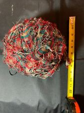 Red & Green And Tan Cloth Fabric Strip Old Rag Rug Ball - 8 Inches 1 Pound 6