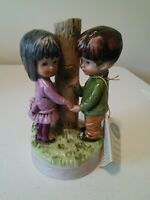 Vintage Moppets Boy and Girl by Tree Music Box 1974 Gorham