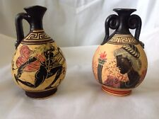 Beautiful Two Greek Hand Painted Vase Copies of Museum Classic Artifacts L@@K