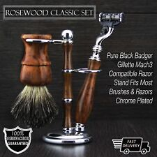 Conjuntos de afeitar de madera De colección Clásico lujo de pelo de tejón brocha de afeitar mach 3 Razor