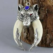 Collectable Old Miao Silver Inlay Tooth Carve Roar Wolth Head Auspicious Pendant