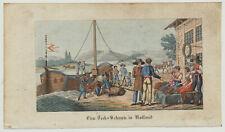 Schiff treideln PFERD Boote Nautik Orig. Grafik um 1820 Ausflug Flussreisen Fest