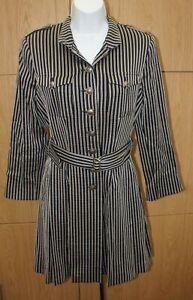 STUNNING MOLOH LADIES BLACK WOOL STRIPED JACKET COAT WITH BELT UK 12