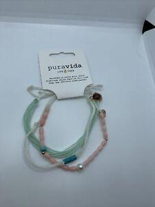 Pure vida bracelet set pink beaded/seafoam green/ivory new