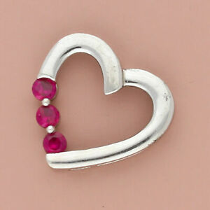 zales sterling silver round-cut ruby heart slider pendant