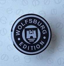 42MM WOLFSBURG RESIN 3D  DOMED STICK ON STICKER BLACK AND WHITE GEAR KNOB