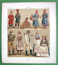 SWEDEN Costume of Lapps Wedding Couple Bride - RACINET Color Litho Print