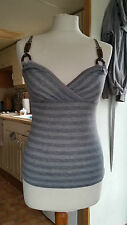 Ladies Strappy Striped Glitered Dark & Light Grey Top Sz 12/14 M by Rare