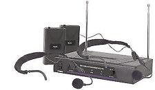 Dual Wireless Radio Microphone VHF System Headworn Neckband Aerobics 171 819