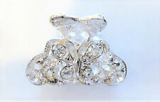 Small silver metal butterfly hair claw clip with  crystals