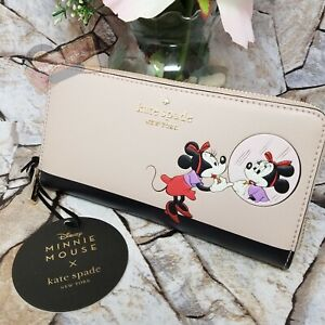 NWT Disney X Kate Spade New York Minnie Mouse Large Continental Wallet Vellum