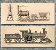 Old railroad steam engine drawings lot - 2 large prints