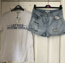 Zara Forever 21 Ladies Shorts And Tee Shirt Top Festival Summer Bundle Size Sm