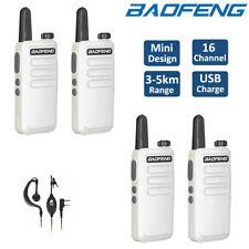 4x Baofeng BF-R5 UHF Walkie Talkies Long Range Two Way FM Radio 3-5KM + Earpiece