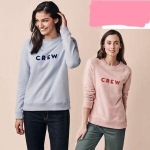RRP £49, NEW CREW CLOTHING PINK/BLUE Multi Logo Sweatshirt  (READ DESCRIPTION)