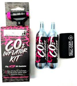Muc Off CO2 MTB Inflator Kit 25g Cartridges Inflator Head Neoprene Sleeve Bike