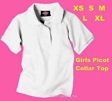 Dickies Shirt Girls short sleeve collar polo Shirts Girls School Uniforms White