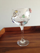 Multi colored Beaded Wine Glass Stemware With Wire Design 8 inches tall