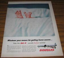 1950'S AD~DOUGLAS DC-7~WORLD FASTEST AIRLINER~BABY FEET  BX-LA