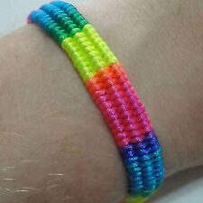 Neon Rainbow Wristband Friendship Bracelet Bangle Womens Mens Girl Boy Jewellery
