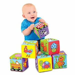 Baby Soft Blocks Toys, Foam Fabric Stacking Cube Toys, Ages 6 Months Plus