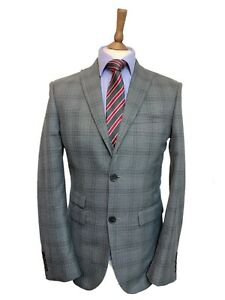 NEXT IMMACULATE 36 REG GREY CHECK 3 PIECE WAISTCOAT TAILORED FIT SUIT W32 L31