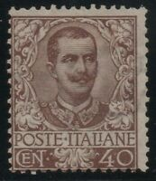 1901 REGNO FLOREALE CENT.40 N.74 G.O.* CERT. CILIO