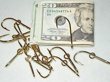THREE ORIGINAL EAGLE CLAW GOLD PLATED FISH HOOK HAT PINS / MONEY CLIPS