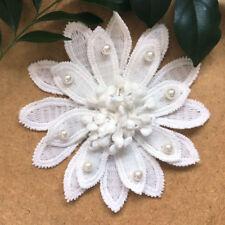 1pc Vintage Flower Pearl Lace Trim Wedding Ribbon Applique Crochet Patch #764