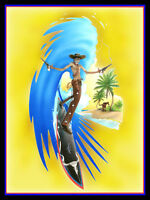Cowboy Surfer Surfboard Ocean Water Sunshine Paradise Beach Retro Metal Sign