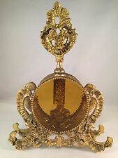 Large Vintage Ornate Ormolu Beveled Amber Glass Perfume Bottle