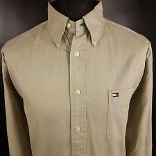 Tommy Hilfiger Mens Vintage THICK Shirt 2XL Long Sleeve Beige Regular Fit Cotton
