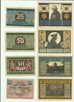 Notgeld Glatz Striegau Meckl Wtzlar Lot 8 pcs Collection
