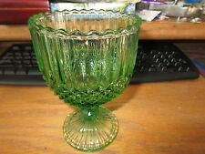 Vintage Green Glass Compote Candy Dish on Pedestal Diamond Rib Panel Design EUC
