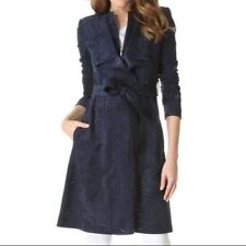 BCBG Max Azria Navy Lightweight Suede Jacket Trench Coat Perforated Sz XXS /US 0