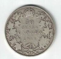 CANADA 1911 50 CENTS HALF DOLLAR KING GEORGE V STERLING SILVER CANADIAN COIN