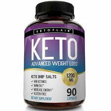 KetoFlair KETO BHB Diet Pills ADVANCED Weight LOSS KETOSIS 1200mg 90 Caps