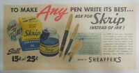 Sheaffer's Skrip Ink Ad: Make Any Pen Write It's Best 1945 Size: 7.5 x 15 inches