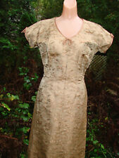 Vintage 50s 60s Dress Mocha BROCADE Asian S M Lined quality